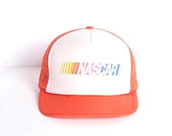 7f287ae3059 vintage NASCAR orange   white mesh trucker DAD hat 1980s 80s baseball hat
