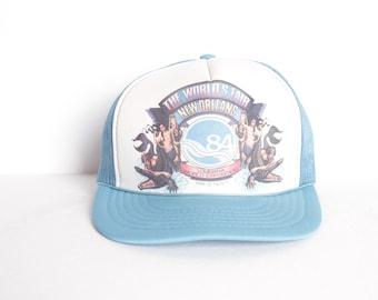 3252d359 vintage LOUISIANA new orleans 1984 WORLD'S fair mesh baseball hat
