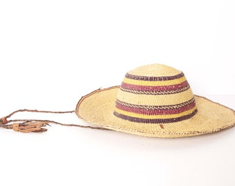 4026bc3bd991d vintage straw SUN hat rancher style bright hat -- leather accents