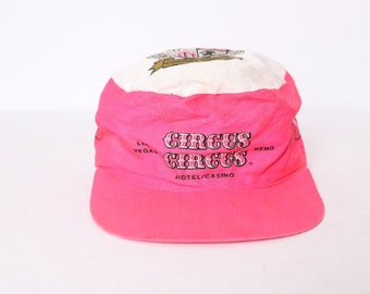 Vintage Reno Nevada National Championship Air Races Red Satin Trucker Hat Used USA Made 1986