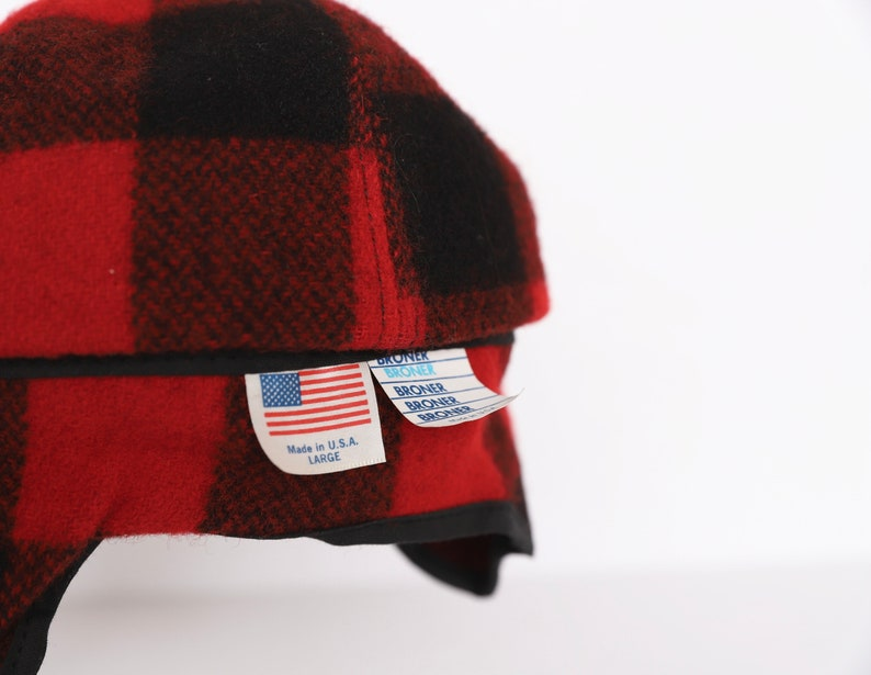 vintage 1960s vintage RED /& black WOOL made in the USA ear flap fold down hat size large