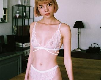 Lena white strappy lace lingerie set, bridal lingerie