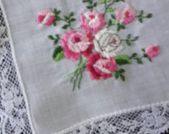 """Vintage white Cotton 1950's Hanky Handkerchief,  with pink embroidered flowers   - 28 cm / 11"""" square-"""