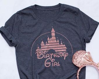 Birthday Girl Disney Shirt Rose Gold Castle Happy Sparkle