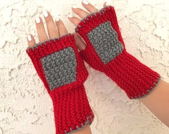 Red fingerless mittens with gray accents