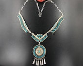 Nelson Harry Needlepoint Turquoise Necklace for Women, Zuni Vintage Ceremonial Dangle Necklace Native American Indian Jewelry
