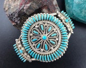 Vintage Silver Cluster Needlepoint Turquoise Bracelet, Signed Terry Loncasion, Bracelet For women, Zuni Native American Indian Jewelry