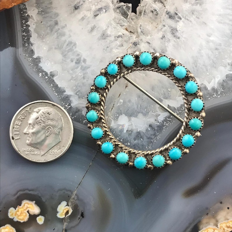 Zuni Native American Indian Jewelry Christmas Gift For Mother  Wife Ellen /& Lawrence Lonasee Vintage Silver Petite Point Turquoise Brooch