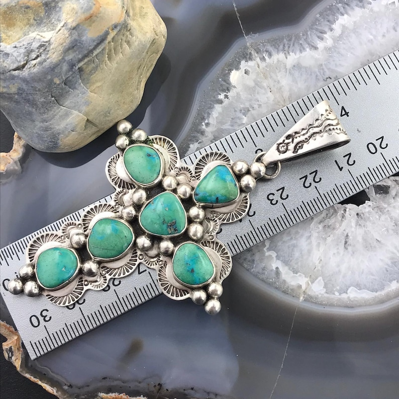 Native American Religious Symbol Mike Platero Sterling Silver Turquoise Cross Pendant Pendant necklace For Women or Men