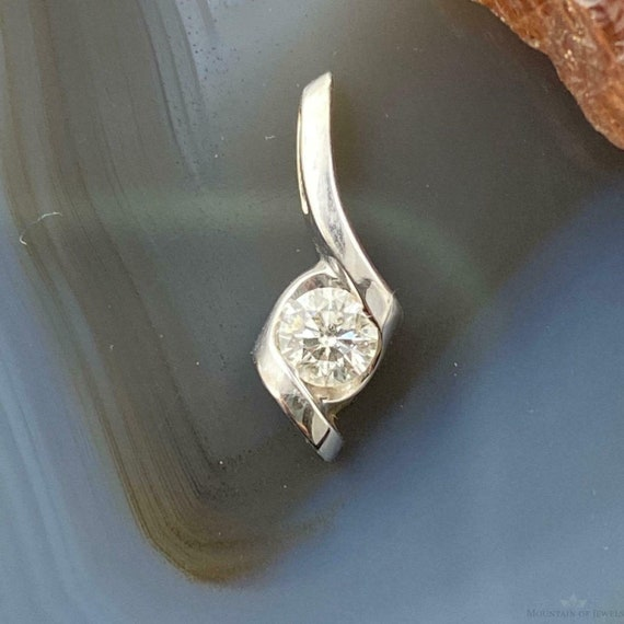 14K White Gold and Diamond Tiny Dainty Pendant For