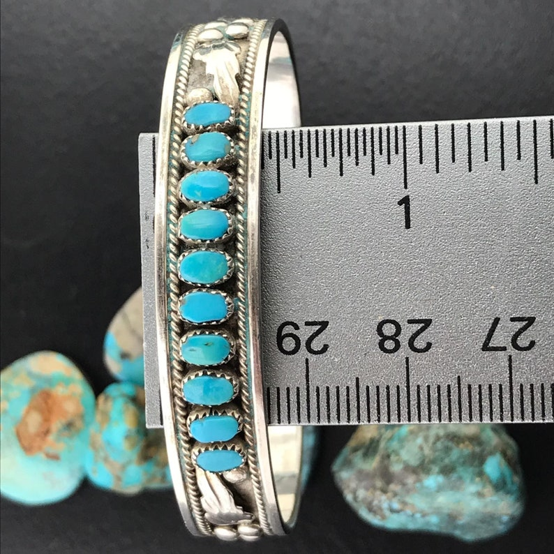 For Wife Turquoise Jewelry Turquoise Cuff Bracelet Zuni Jewelry Row Bracelet Native American Cuff Stacking Bracelet Zuni Silver Bracelet