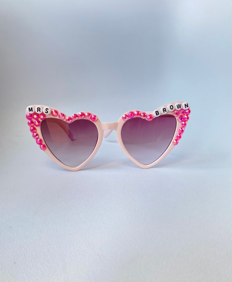 Personalized Bridesmaid gifts Embellished Vintage Heart Cat Eye Bride Squad I Bedazzled Sunnies Custom Adult Heart Sunglasses