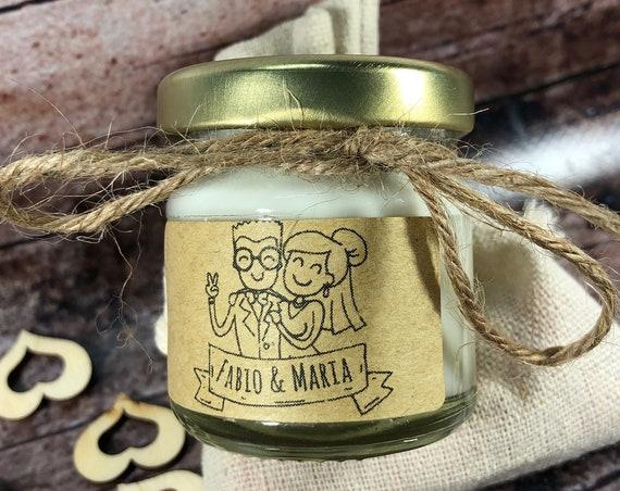 1 mini candela di prova sacchetto matrimonio coppie etero o gay con nomi e data bomboniera matrimonio segnaposto nozze confettata