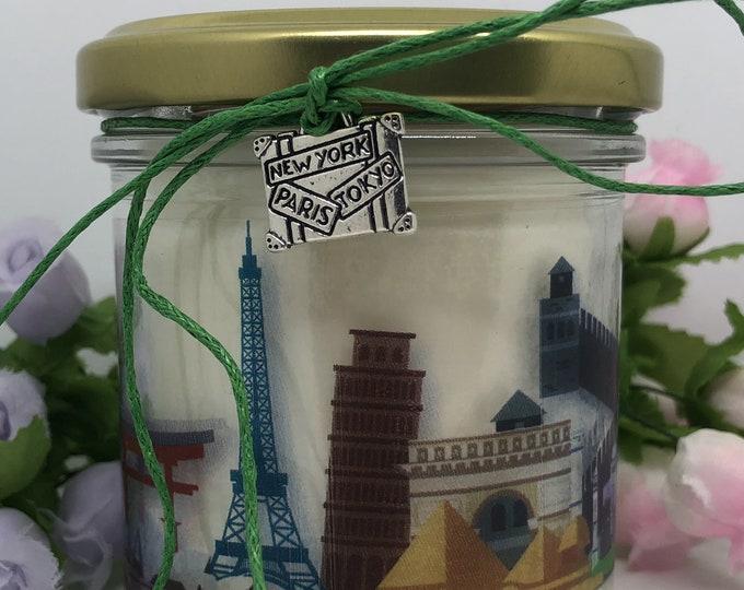 Città del mondo, Vasetto con candela con skyline di città famose, ciondolo decorativo a scelta regalo amanti di viaggi turismo città famose