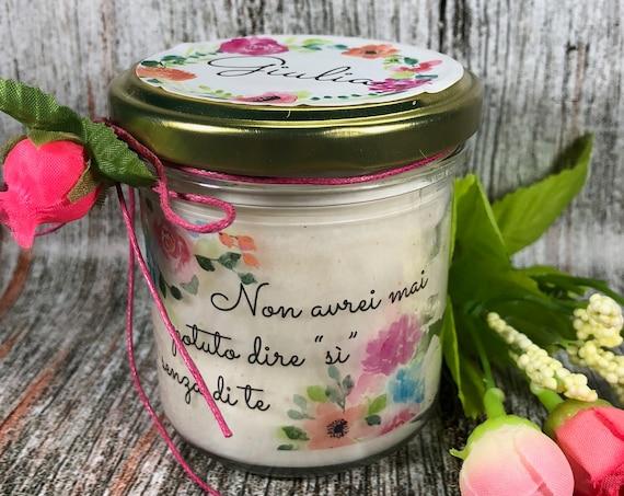 Regalo damigella damigelle testimone nozze Vasetto con candela con disegno a scelta personalizzata con nomi o frasi  in cera di soia