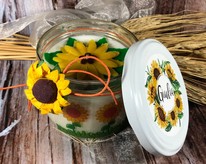 Girasoli Vasetto grande con candela con decorazione interna con fiore fatto a mano in fogli di cera buona estate vacanze estive giallo sole