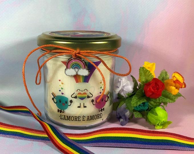 Pride Vasetto con candela in cera di soia oli essenziali lgbt coppie gay uguali diritti unioni civili omosessuali arcobaleno
