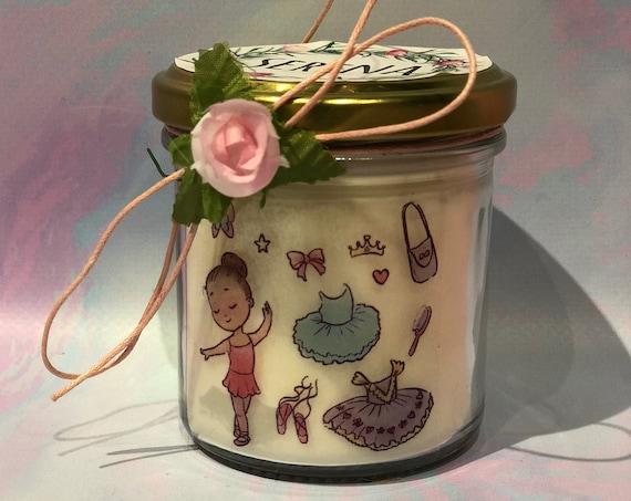 Ballerina di danza classica Vasetto con candela in cera di soia oli essenziali e stoppino in legno  idea regalo maestra danza saggio danza