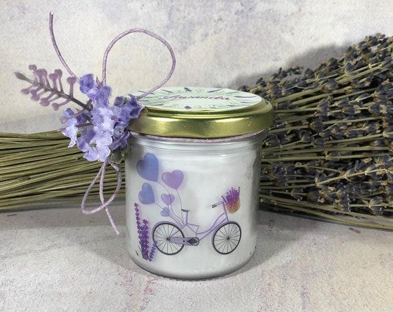 Vasetto alla Lavanda con candela pura cera di soia e oli essenziali stoppino in legno idea regalo aromaterapia essenze profumo provenza
