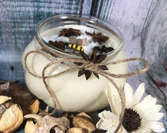 Candela Anice stellato e Miele in cera di soia e oli essenziali profumatissima 100% naturale