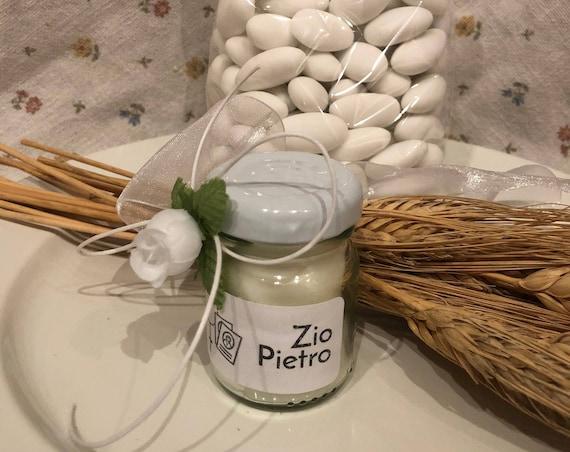 5 mini candele profumi assortiti segnaposto Comunione o Cresima Cerimonie in vasetto personalizzato Decorazione tavola