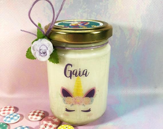 Unicorno Vasetto con candela personalizzato con nome regalo compleanno anniversario mamma nonna zia amica sorella Natale maestra damigella