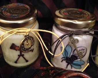Steampunk 2 vasetti con candele di cera di soia e oli essenziali - Vintage - Victorian Age - Idea Regalo