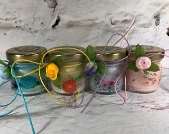 4 mini candele segnaposto motivo floreale tappo personaliz Matrimoni Comunioni Battesimi Compleanni Anniversari Nozze Country Ricordo ospiti
