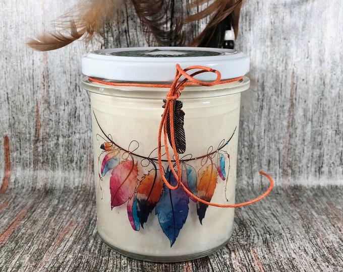 Vasetto gigante con candela ciondolo omaggio stile boho bohemiano shabby chic nativi americani freccia catturasogni piuma aroma a scelta