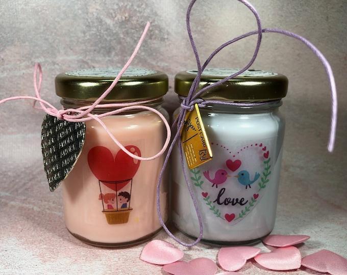 Ti amo Frasi d'Amore 2 vasetti con candele di cera di soia e oli essenziali Anniversario Fidanzamento Proposta di Matrimonio San Valentino