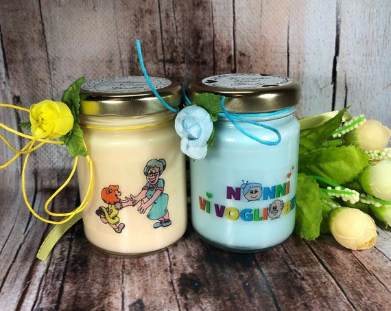 Vi voglio bene Nonni 2 vasetti con candele di cera di soia e oli essenziali Regalo per i Nonni Festa dei Nonni