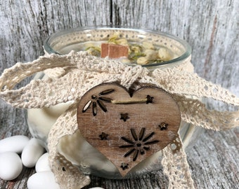 Candela al gelsomino in cera di soia e oli essenziali profumatissima 100% naturale centrotavola nozze