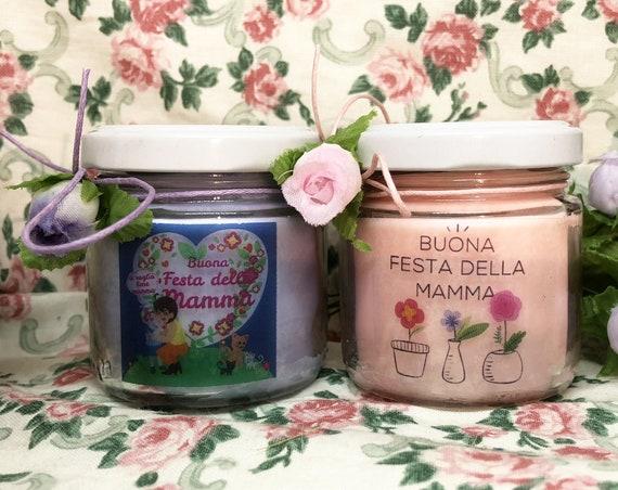 Buona Festa della Mamma 2 vasetti con candele di cera di soia e oli essenziali Regalo per la Mamma Ti voglio bene Mamma La migliore Mamma