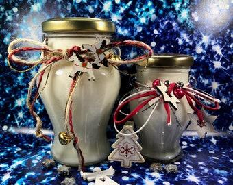 Buon Natale Giara con candela profumata in due misure, aroma speziato a scelta nastrino decorativo a tema natalizio cera soia oli essenziali