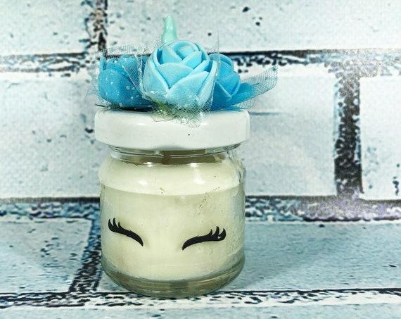 10 mini candele unicorno in cera di soia e oli essenziali per Battesimo o nascita maschio segnaposto bomboniera ricordo invitati baby shower