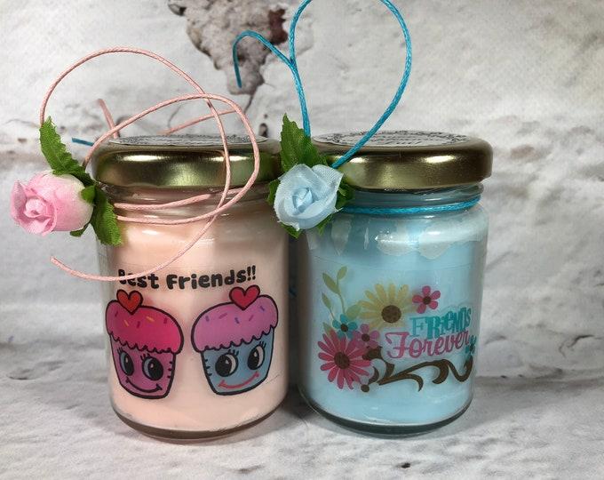 Migliore Amica Regalo Ti voglio bene 2 vasetti con candele di cera di soia e oli essenziali Amica del Cuore Amicizia Amiche per sempre