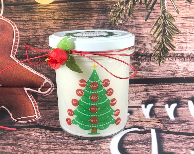 Candela regalo di Natale per la Maestra da parte della classe in cera di soia oli essenziali con i nomi degli alunni e della maestra