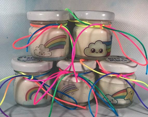 5 mini candele segnaposto arcobaleno con tappo personalizzato Matrimoni Comunioni Battesimi Compleanni Anniversari Country Shabby Chic