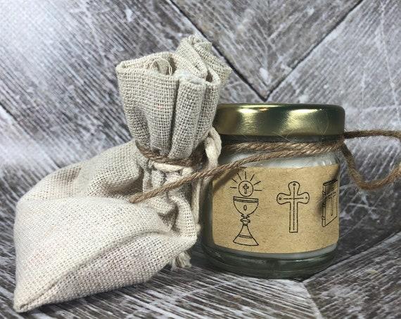 10 o più mini candele sacchetto comunione personalizzate con nome e data bomboniera comunione segnaposto