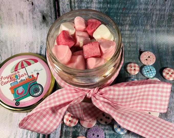 Soywax Candy Jar Vasetto con cuoricini di cera di soia, profumi di caramella o pasticcino, idea regalo per mamma nonna zia sorella amica