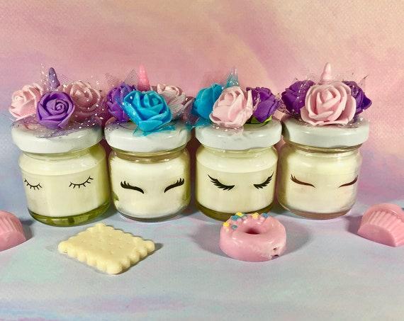 4 mini candele unicorno in cera di soia e oli essenziali segnaposto bomboniera regalo fine festa ricordo invitati gadget baby shower