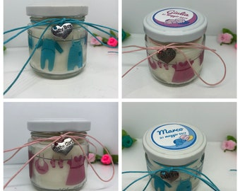 Bomboniera Battesimo o Nascita Maschio o Femmina - 25 vasetti confezionati scritta sacchetto e confetti candele di cera di soia e oli essenz