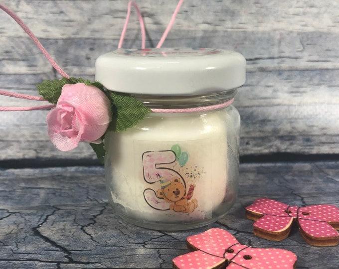 10 mini candele regali fine festa o segnaposto personalizzato compleanno (bambini) in cera di soia e oli essenziali
