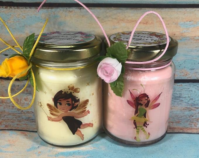 Fatine Idea Regalo 2 vasetti con candele di cera di soia e oli essenziali folletti fantasy magia