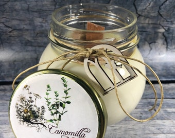 Candela alla camomilla e melissa in cera di soia e oli essenziali profumatissima 100% naturale
