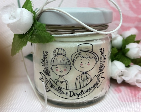 25 candele personalizzate, bomboniere per matrimonio, sacchetto nozze, nomi degli sposi sull'etichetta, in cera di soia e oli essenziali