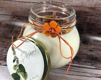 Candela al patchouli in cera di soia e oli essenziali profumatissima 100% naturale