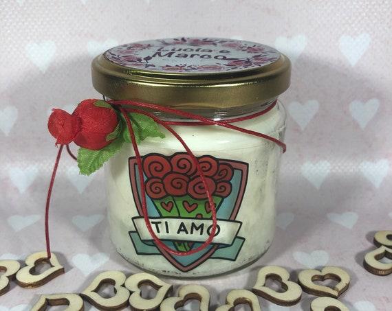 Ti amo Frasi d'Amore Candela profumatissima in cera di soia e olio essenziale con stoppino in legno Anniversario Fidanzamento