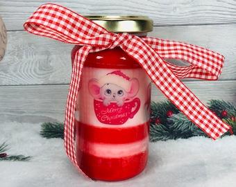 Candela natalizia in cera di soia, oli essenziali e stoppino in legno 2 colori e 2 profumazioni natalizie regalo di natale decorazione casa