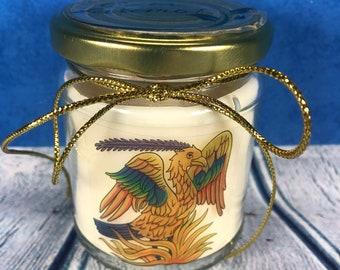 Araba Fenice Simbolo di Rinascita Candela in cera di soia e oli essenziali con frase personalizzata idea regalo